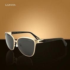 024d7692c43 Lanvin Paris SLN-048 Shiny Gold Metal   Wooden Textured Wayfarer Women  Sunglasses