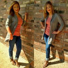 #New Gray Cardi, great for a casual wkend, or dress up for a day at the office! #cardigan #gray #fall #fashion #almostfallyall #bombshell #like #sunraysdayspa #bronze_bombshell_salon #casual #office