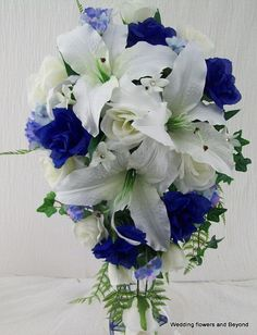 2 Piece Blue and White Wedding Flower Package Casablanca Lilies And Roses Cascade Style Wedding Bouquet and Boutonniere Set