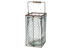 "One Kings Lane - Cottage Charm - 13"" Wire Farm Basket"
