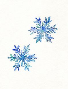 Snowflakes / watercolor print / teal by kellybermudez, $19.00