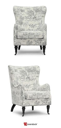 Beautiful wing chair in toil. Perfect for the French Country decorated home.