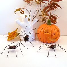Three Medium Hanging Black Spiders Handmade by SpiderwoodHollow, $24.00