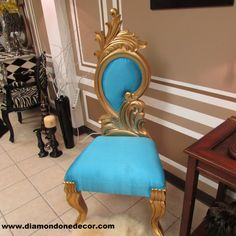 1 IN STOCK.NO WAITING This wonderful silk turquoise and gold Baroque Louis XVI-style decorator accent chair is a perfect piece for any home. These beautiful chairs are made to order Approximate Size Rococo Furniture, Dream Furniture, Classic Furniture, Louis Xvi, Baroque, Renaissance, French Style Homes, Decoration, Home And Living