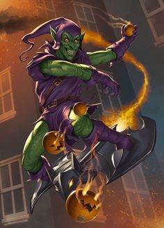 GREEN GOBLIN TRIVIA According to Spider-Man co-creator Steve Ditko, Stan Lee's original concept for the character in Amazing Spider-Man was for something completely different than what we. Marvel Vs, Marvel Villains, Marvel Dc Comics, Marvel Heroes, Comic Book Characters, Marvel Characters, Comic Books Art, Comic Art, Joker Comic
