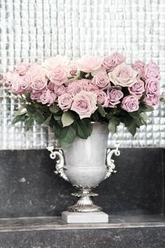 Paris Roses Photograph - Roses in an Urn, French Decor Photograph, Romantic Home Decor, Large Wall Art  Love the vase.