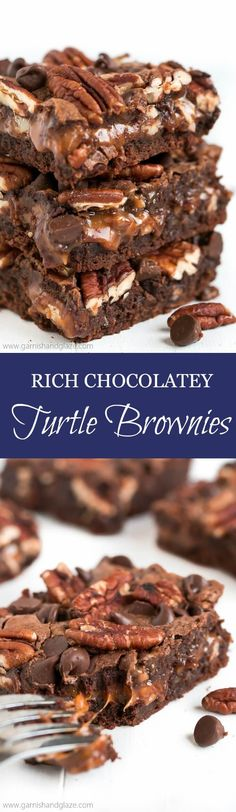 Rich chocolatey brownies filled with sweet gooey caramel and crunchy pecans... these delicious Turtle Brownies are going to blow your mind! Enter the Rodelle Chocolate GIVEAWAY!