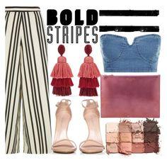 """Bold Stripe"" by trinirockstarr ❤ liked on Polyvore featuring Alice + Olivia, Oscar de la Renta, Aspinal of London, tarte and Stuart Weitzman"