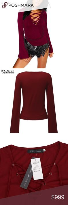 Lace Front Blouse ZANZEA Women Autumn Sexy Blouses Shirts V Neck Long Flare Sleeve Blouse Casual Slim Lace Up Solid Tops! Absolutely gorgeous! Zanzea Fashion Tops Tees - Long Sleeve