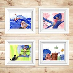 Fiammetta: 4 prints 8x11 limited edition wall art by sabiesabi