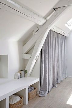 Loft = white beams and wardrobe curtains House Design, House, Interior, Home Bedroom, House Styles, Attic Rooms, House Interior, Home Deco, White Beams