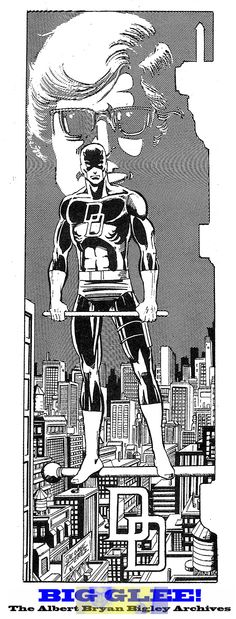 George Perez draws Daredevil.  A rare treat!  Be sure to follow this image to Big Glee! The Albert Bryan Bigley Archives!  Thanks for sharing this rare piece of art with everyone Al!