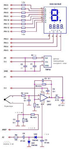 Схема Ардуино термометра для высоких температур