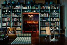 #teal #book #shelves