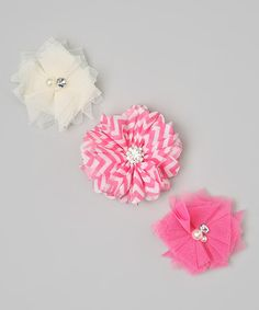 Take a look at this Pink & White Zigzag Rhinestone Flower Clip Set on zulily today!
