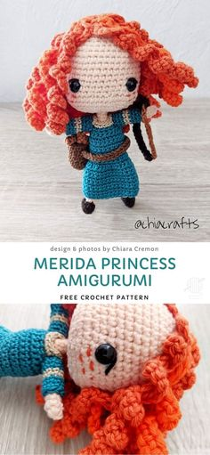 Merida is one of the bravest Disney characters off all times. She's a great role model for both boys and girls, so making a cute crochet doll is a wonderful idea for a new toy for your, or your friend Crochet Easter, Crochet Bee, Cute Crochet, Beautiful Crochet, Doll Amigurumi Free Pattern, Amigurumi Doll, Crochet Amigurumi Free Patterns, Crochet Toys, Crochet Hello Kitty