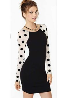 1dec3fb4b78 Enchanting Long Polka Dot Sleeve Bodycon Club Dress