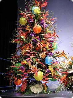 Tropical Twist: Bird of Paradise & Heliconia Flower Christmas Tree. Via Hutchinson Island, Florida