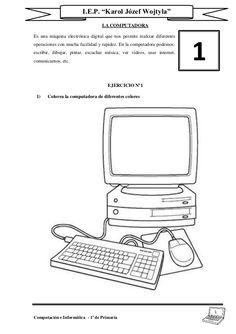 Partes de la computadora para niños de primaria para