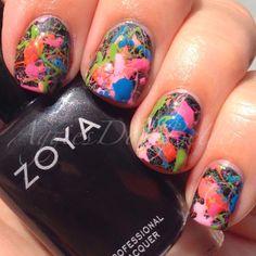 Zoya Tickle Splatter over Zoya Raven! All color available at http://www.zoya.com #nailart #nailpolish #beauty via Aggies Do It Better