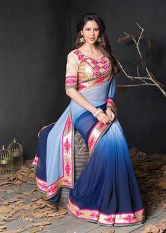 Shaded Blue Georgette Wedding Saree 63781  #WeddingSarees #OnlineShopping