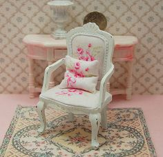 Dollhouse Chair Shabby Distressed White Wood by Memoriesnminiature, $27.99