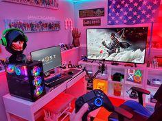 Computer Gaming Room, Gaming Room Setup, Computer Setup, Pc Setup, Boys Game Room, Gamer Bedroom, Mundo Dos Games, Otaku Room, Video Game Rooms