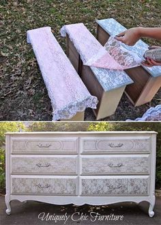 18 Awesome DIY Shabby Chic Furniture Makeover Ideas For Creative Juice Repurposed Furniture Awesome Chic Creative DIY Furniture ideas Juice Makeover shabby Lace Painted Furniture, Repurposed Furniture, Shabby Chic Furniture, Shabby Chic Decor, Painting Furniture, Lace Decor, Vintage Furniture, Bedroom Furniture, Refurbished Furniture