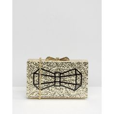 Ted Baker Gold Glitter Box Clutch Bag With Bow (£62) ❤ liked on Polyvore featuring bags, handbags, clutches, gold, chain strap purse, gold handbags, ted baker, glitter handbag and gold glitter purse