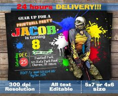 Gear Up Paintball Invitation Paintball Invite Paintball Paintball Birthday Party, Color Fight, Invitation Wording, Invite, Frat Coolers, 11th Birthday, Birthday Ideas, Golf Fashion, Party Themes