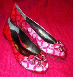 Coach Sonnet Pink Logo Embellished Ballet Flats!  Size 9M! Excellent Used Cond!