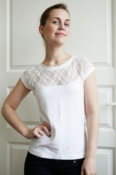 A step by step tutorial for creating a simple t-shirt pattern and sewing a beautiful diy lace t-shirt. Thorough instructions with photos included!