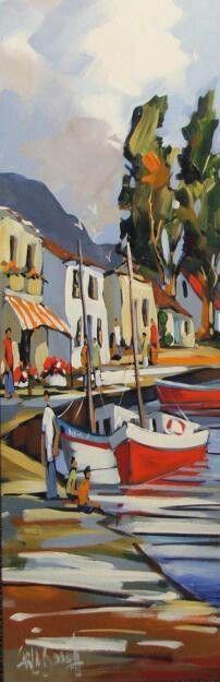 Hawe van Carla Bosch ,as ek maar so kon skilder Watercolour Painting, Painting & Drawing, Boat Art, South African Artists, Impressionism Art, Fantasy Artwork, Beautiful Artwork, Unique Art, Landscape Paintings