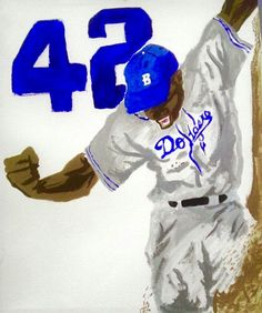 Jackie Robinson acrylic painting done on 16 x 20 on wrapped canvas. Must have for any baseball or history fans. Perfect if you're an art collector or just love this piece. Captivating piece that you'r