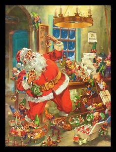 George Hinke art   VINTAGE-1952-SANTA-CLAUS-CHRISTMAS-ORNAMENTS-ART-PRINT-BY-GEORGE-HINKE