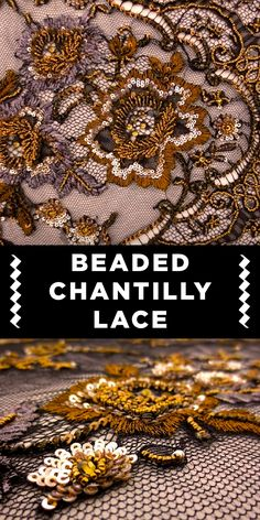 Beaded Chantilly Lace Gold Beaded and Sequined Black Chantilly Lace<br> Embroidery Motifs, Simple Embroidery, Beaded Embroidery, Embroidery Designs, Textile Pattern Design, Textile Patterns, Fabric Design, Print Patterns, Textiles