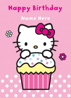 Hello Kitty - Hello Kitty Happy Birthday Cake - Personalised Birthday Greeting Card