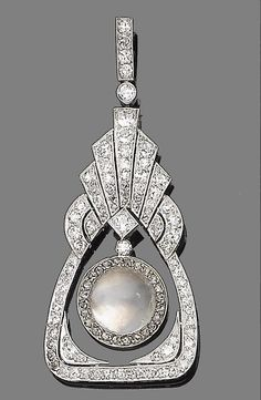 An Art Deco moonstone & diamond pendant  The tapering pierced plaque with fan-shaped surmount millegrain-set throughout with old brilliant & single-cut diamonds, suspending a circular cabochon moonstone within a rose-cut diamond border, diamonds approx 1.30cts total, length 5.6cm.