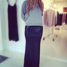 Love this sequin skirt with cashmere sweater!