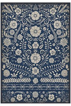 With a classic country style floral design, the Primer Indigo Vinyl Floor Cloth will give your cottage a fresh and folksy flair. More colors available. Vinyl Floor Mat, Vinyl Rug, Vinyl Flooring, Kitchen Flooring, Stone Flooring, Flooring Ideas, Deep Carpet Cleaning, How To Clean Carpet, Floor Cloth