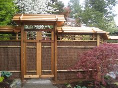 japanese trellis fences | Japanese Garden – North Seattle. This would be another alternative for the 30' divider with my neighbor. I like the reeds with the wood ... I would use darker wood to go with my Arts & Crafts home.