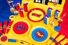How to Throw a Superhero Party on a Budget Superman Birthday Party, 4th Birthday Parties, Superhero Party, Boy Birthday, Minion Superhero, Birthday Ideas, Wonder Woman Party, Childrens Party, Free Printables