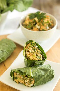Salmon Avocado Salad with Collard Wraps