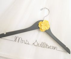 Grey & Yellow Flower Wire Wedding Hanger - Painted Dark Gray or other Custom Bridal Color, Personalized Yellow Grey Weddings, Gray Weddings, Yellow Wedding, Wedding Colors, Dream Wedding, Wedding 2017, Bridal Hangers, Wedding Dress Hanger, Wedding Hangers