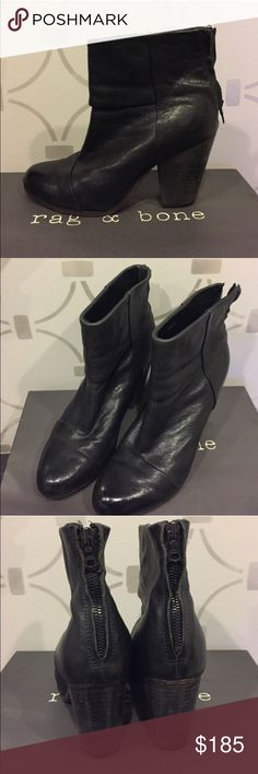 Rag & Bone Newbury Bootie in Black Leather Size 8 Rag & Bone Newbury Bootie in Black Leather Size 8.  Classic Style.  Sells in stores for $595.  Includes Original Box and Dust Bag.  ** Possibly looking to trade for size 8.5 in same exact shoe.  ** rag & bone Shoes Ankle Boots & Booties
