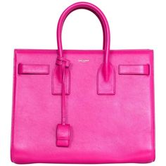 Saint Laurent Pink Small Sac De Jour Tote Bag w/ Strap ($2,330) ❤ liked on Polyvore featuring bags, handbags, tote bags, pink purse, pink leather handbags, handbags totes, pink leather tote and leather purses