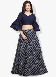 b0f2b094e679b Buy Inddus Navy Blue Printed Woven Lehenga online