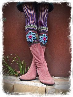 Fall colors FLOWER GIRL leg warmers Nordic Fair Isle by GPyoga, $69.00