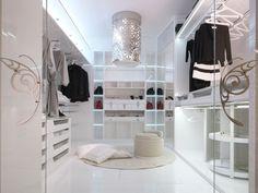 Fancy pur wei es Kleiderschrank mit faszinierender LED Beleuchtung