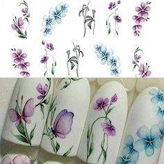 5 Sheets/Set Women's Fashion Colorful Purple Fantacy Flowers Nail Stickers Water Transfer Manicure Decals Tip Decoration Stickers For Nails Decoration Stickers, Nail Art Stickers, Nail Decals, Nail Decorations, Butterfly Nail Art, Flower Nail Art, Butterfly Design, Nail Art Designs, Flower Nail Designs